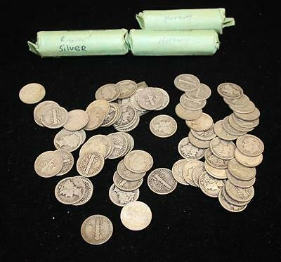 3 ROLLS MERCURY AND ROOSEVELT DIMES AND 72 LOOSE DIMES, MOSTLY SILVER Lot 795