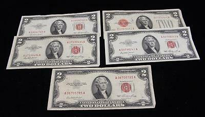 (1) SERIES 1928 AND (4) SERIES 1953 TWO DOLLAR RED SEAL NOTES Lot 775