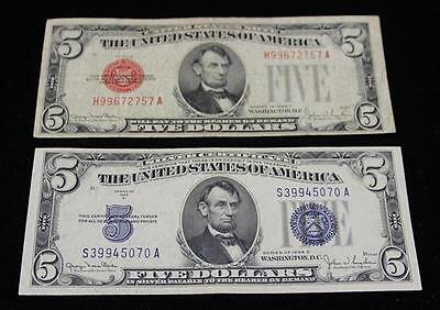 SERIES 1928 FIVE DOLLAR RED SEAL NOTE AND SERIES 1934 FIVE DOLLAR SIL... Lot 362