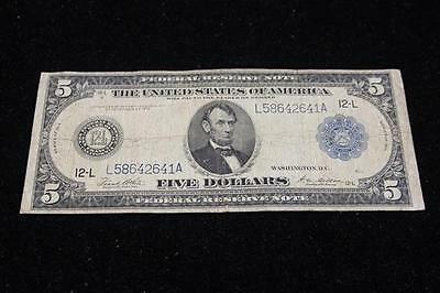 SERIES 1914 LARGE FIVE DOLLAR FEDERAL RESERVE NOTE Lot 478