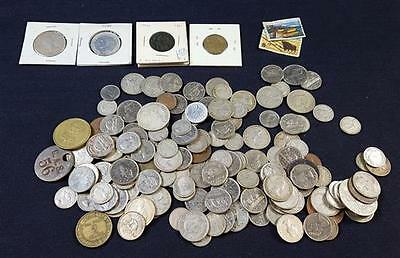LOT FOREIGN COINS (SOME SILVER), TOKENS, AND POSTAGE STAMPS Lot 262