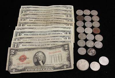 MIXED LOT INCLUDING TWO DOLLAR RED SEAL NOTE, 9 ONE DOLLAR SILVER CER... Lot 968