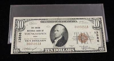 UNION NATIONAL BANK OF YOUNGSTOWN TEN DOLLAR NATIONAL CURRENCY NOTE Lot 566