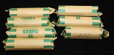 †6 ROLLS ROOSEVELT SILVER DIMES AND 1 PARTIAL ROLL WITH 43 DIMES *tax... Lot 596