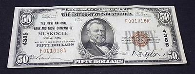 NATIONAL CURRENCY 50 DOLLAR NOTE SERIES 1929, FIRST NATIONAL BANK AND... Lot 695