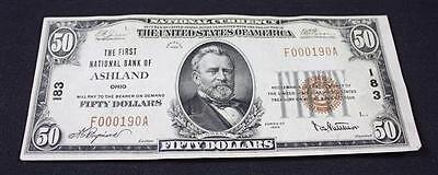 NATIONAL CURRENCY 50 DOLLAR NOTE SERIES 1929, FIRST NATIONAL BANK OF ... Lot 696
