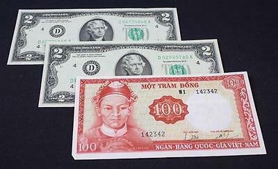 2 SERIES 1976 TWO DOLLAR FEDERAL RESERVE NOTES AND VIETNAM CURRENCY Lot 687