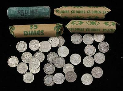 †4 ROLLS AND 31 LOOSE MERCURY AND ROOSEVELT SILVER DIMES *tax exempt* Lot 309