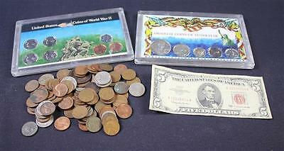 MIXED LOT INCLUDING SERIES 1963 FIVE DOLLAR RED SEAL NOTE, 2 U.S. COI... Lot 545