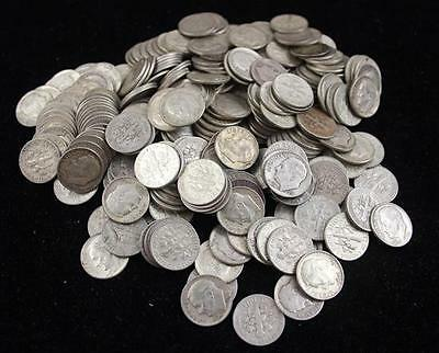 †268 SILVER DIMES INCLUDING 1 BARBER *tax exempt* Lot 397