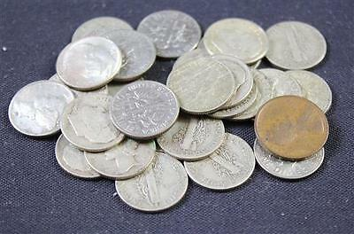 MERCURY AND ROOSEVELT DIMES (MOSTLY SILVER) AND LINCOLN WHEAT CENT Lot 794