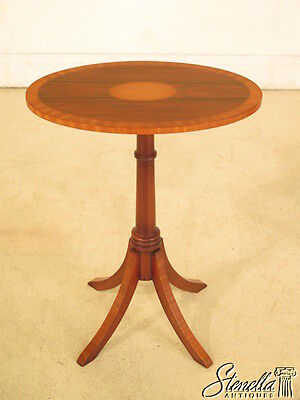 23985E: Oval Small Inlaid Rosewood Top Pedestal Table