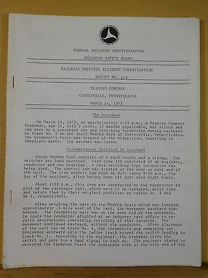 Railroad EMPLOYEE Accident Investigation Report #118 Reading Company