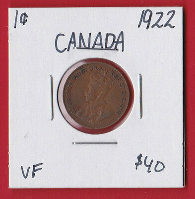 1922 Canada One Cent Penny Coin 5679 - $40 - Very Fine - Key Date