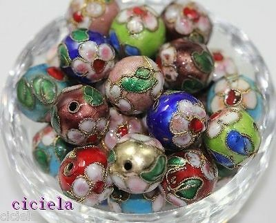 10Pcs New High Quality Mixed Cloisonne Flowers Pattern Round Spacer Beads 14mm