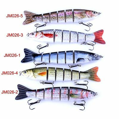 Multi-jointed Segmented Plastic Fishing Lure Crankbait Bait W/Feather Hook Tool