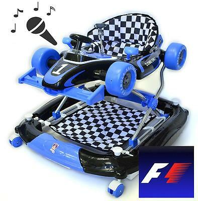 Formula F1 Racing Car Baby Walker 4in1 with Toys Play Centre and Push Handle Blu