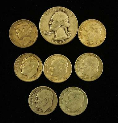 †WASHINGTON SILVER QUARTER AND 7 SILVER DIMES *tax exempt* Lot 1559