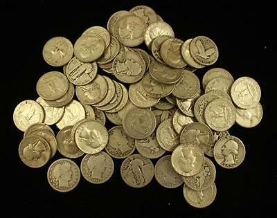 †80 SILVER QUARTERS INCLUDING 1857 AND 1888S SEATED LIBERTY, BARBER,... Lot 1499