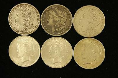 †6 SILVER DOLLARS INCLUDING 1883, 1896S, 1921S MORGANS AND (2) 1923,... Lot 1587