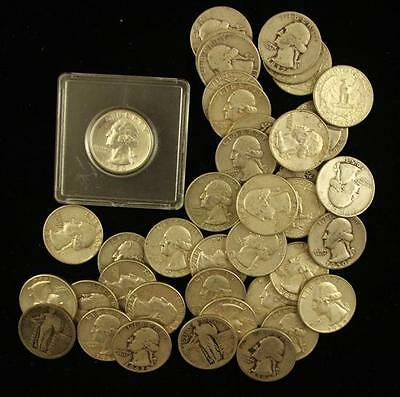 †41 STANDING LIBERTY AND WASHINGTON SILVER QUARTERS *tax exempt* Lot 1498
