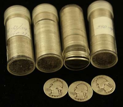 †4 COIN TUBES WASHINGTON SILVER QUARTERS *tax exempt* Lot 1505