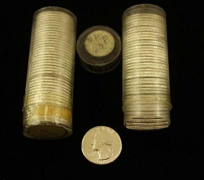 †2 COIN TUBES 1963D WASHINGTON SILVER QUARTERS, BU *tax exempt* Lot 1594