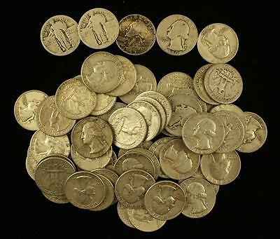 †59 STANDING LIBERTY AND WASHINGTON SILVER QUARTERS *tax exempt* Lot 1600
