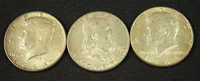 †3 FRANKLIN AND 1964 KENNEDY SILVER HALF DOLLARS *tax exempt* Lot 1996