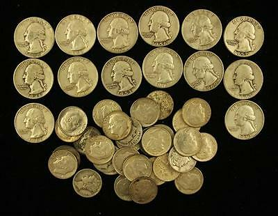 MIXED LOT INCLUDING 14 WASHINGTON SILVER QUARTERS AND 29 ROOSEVELT A... Lot 1497