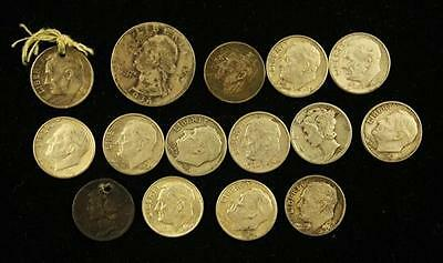 †WASHINGTON SILVER QUARTER AND 14 SILVER DIMES (2 HOLED) *tax exempt* Lot 1474