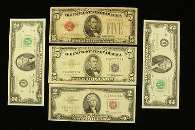 SERIES 1928 FIVE DOLLAR RED SEAL NOTE, SERIES 1953 FIVE DOLLAR SILVE... Lot 1387
