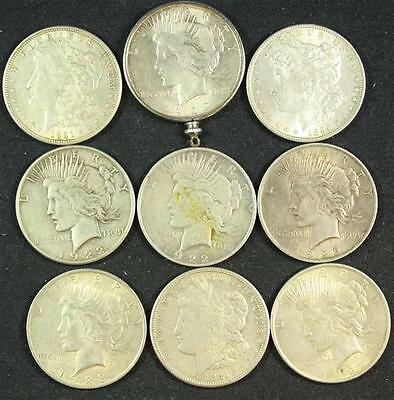 †9 U.S. SILVER DOLLARS INCLUDING 1896, 1921, 1921S MORGANS AND (2) 1... Lot 1659