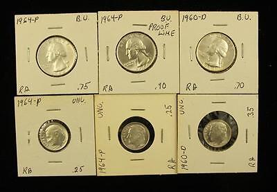 †3 WASHINGTON SILVER QUARTERS (UNC) AND 3 ROOSEVELT SILVER DIMES (UN... Lot 1503