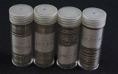 †4 COIN TUBES WASHINGTON SILVER QUARTERS *tax exempt* Lot 2052