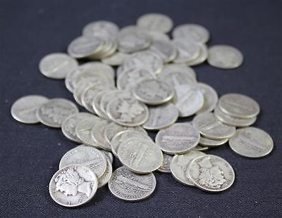 †62 MERCURY AND ROOSEVELT SILVER DIMES *tax exempt* Lot 1345