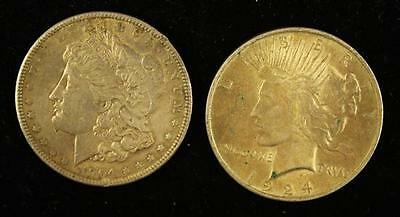 †2 U.S. SILVER DOLLARS INCLUDING 1904 MORGAN AND 1924 PEACE *tax exe... Lot 1682