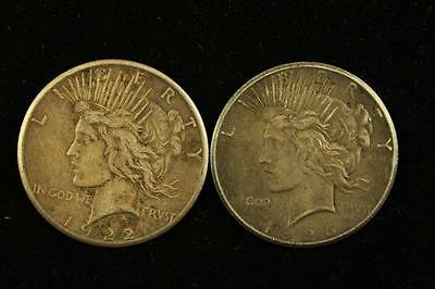 †2 PEACE SILVER DOLLARS 1922S AND 1926 *tax exempt* Lot 1492