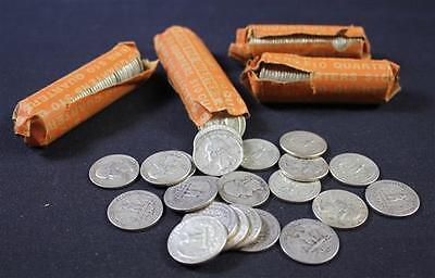 †LOT 4 ROLLS PLUS 10 LOOSE WASHINGTON SILVER QUARTERS *tax exempt* Lot 1842