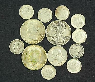 †MIXED LOT INCLUDING 3 SILVER HALF DOLLARS, 1 WASHINGTON SILVER QUAR... Lot 1693