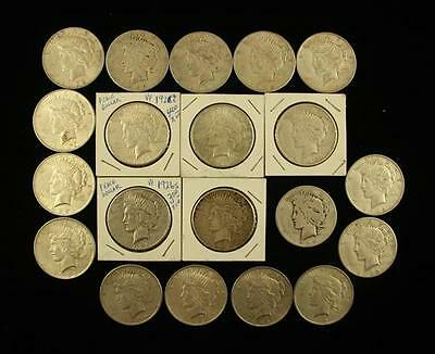 †20 PEACE SILVER DOLLARS (11) 1922, 1922S, 1923S, (3) 1925, (3) 1926... Lot 1429