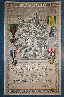 WWI French Death Scroll & Medals Group Sabatier Louis Urbain 45th Reg. Artillery