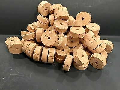 """CORK RINGS 60 GRADE A Large , 1 1/2"""" x 1/2"""" x 1/4"""" Hole, Great Price!"""