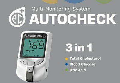 AUTOCHECK for Glucose, Uric Acid & Cholesterol Meter 3 in 1 Monitoring System