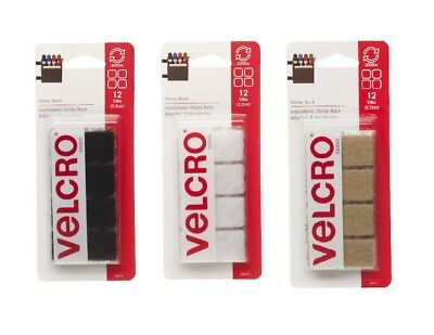 """Velcro Sticky Back 12 Pack 7/8"""" Square Fasteners Hook & Loop SELECT YOUR COLOR!"""