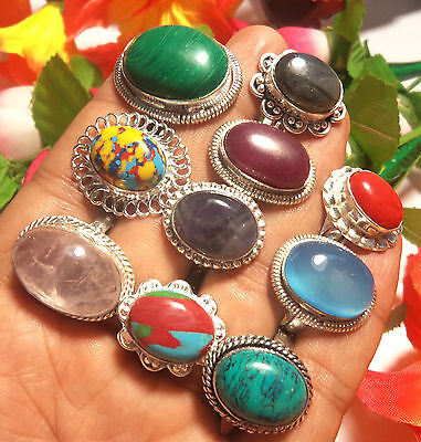 CHRISTMAS SALE MIX GEMSTONE WHOLESALE LOT 10PCs STERLING SILVER OVERLAY RING