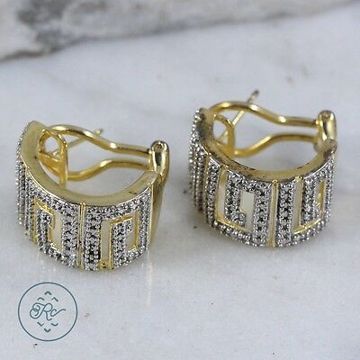 Sterling Silver & 18K Gold - TECHNIBOND DIAMOND Accent 9g - French Clip Earrings