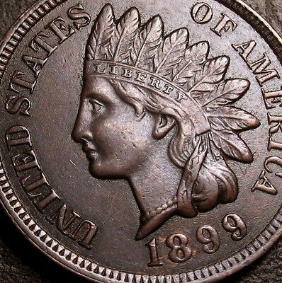 Us Coins 1899 Stunning Indian Head Cent Penny Choice Full Liberty Four Diamonds