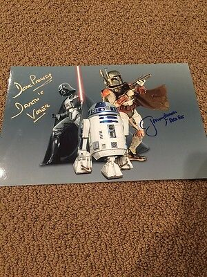 8x12 signed photo vader and fett!! star wars!!