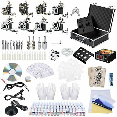 Complete Tattoo Kit in Case 54 Color Ink 8 Machine Gun Set LCD Power Supply Grip